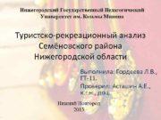Нижегородский Государственный Педагогический Университет им Козьмы Минина Туристско-рекреационный