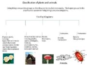 Classification of plants and animals Living things are