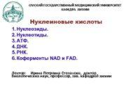 ОМСКИЙ ГОСУДАРСТВЕННЫЙ МЕДИЦИНСКИЙ УНИВЕРСИТЕТ КАФЕДРА ХИМИИ Нуклеиновые кислоты