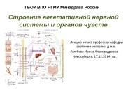 ГБОУ ВПО НГМУ Минздрава России Строение вегетативной нервной