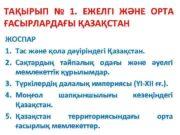 ТАҚЫРЫП 1 ЕЖЕЛГІ ЖӘНЕ ОРТА ҒАСЫРЛАРДАҒЫ ҚАЗАҚСТАН