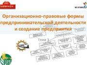 Организационно-правовые формы предпринимательской деятельности и создание предприятия Тема