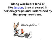 Slang words are kind of like jargon they