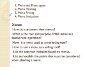 1 Menu and Menu types 2 Menu Planning