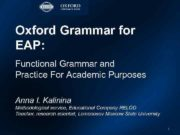 Oxford Grammar for EAP Functional Grammar and Practice