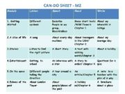 CAN-DO SHEET — M 2 Module Listen Speak
