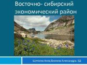 Восточно- сибирский экономический район Шуткина Анна Бизяева Александра