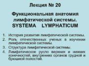 Лекция 20 Функциональная анатомия лимфатической системы SYSTEMA