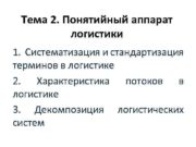 Тема 2 Понятийный аппарат логистики 1 Систематизация и
