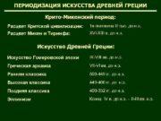 ПЕРИОДИЗАЦИЯ ИСКУССТВА ДРЕВНЕЙ ГРЕЦИИ Крито-Микенский период Расцвет Критской