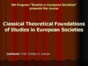 MA Program Studies in European Societies presents the