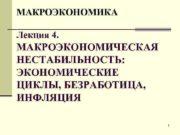 МАКРОЭКОНОМИКА Лекция 4 МАКРОЭКОНОМИЧЕСКАЯ НЕСТАБИЛЬНОСТЬ ЭКОНОМИЧЕСКИЕ ЦИКЛЫ БЕЗРАБОТИЦА