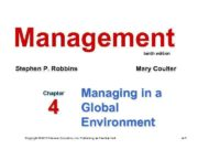 Management tenth edition Stephen P Robbins Chapter 4