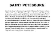 SAINT PETESBURG Saint Petersburg is the second largest