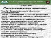 Дисциплина Тактико-специальная подготовка подготовка Тема 1 Основы