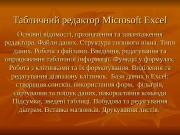 Табличний редактор Microsoft Excel Основні відомості, призначення та