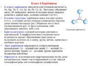 Класс 4 Карбонаты К классу карбонатов относятся соли
