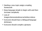 • Starting a new topic assign a