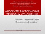 АЛГОРИТМ РАСТОРЖЕНИЯ ТРУДОВЫХ ОТНОШЕНИЙ Выполнил : Вопрючков Андрей