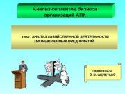 Тема:  АНАЛИЗ ХОЗЯЙСТВЕННОЙ ДЕЯТЕЛЬНОСТИ ПРОМЫШЛЕННЫХ ПРЕДПРИЯТИЙАнализ сегментов