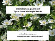 Систематика растений.  Архегониальные растения  @