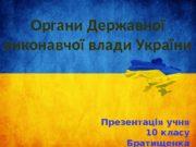 Органи Державної виконавчої влади України Презентація учня 10