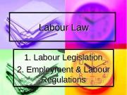 Labour Law 1. Labour Legislation 2. Employment &