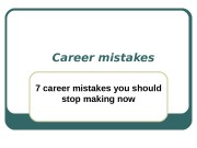 Презентация career mistakes