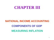 1 CHAPTER III NATIONAL INCOME ACCOUNTING COMPONENTS OF