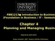 Презентация chapter 4- planning and managing business