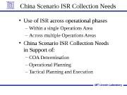 China Scenario ISR Collection Needs  • Use