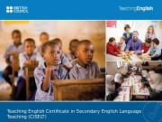Teaching English Certificate in Secondary English Language Teaching
