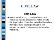 CIVIL LAW Tort Law A tort is a