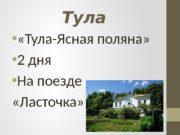 Тула   «Тула-Ясная поляна»  2 дня
