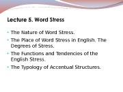• The Nature of Word Stress.