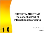 Презентация export marketing MOROZOVA