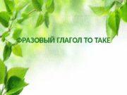 ФРАЗОВЫЙ ГЛАГОЛ TO TAKE  Фразовый глагол Take