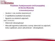 Przedmiot: Funkcjonowanie Unii Europejskiej dr Dorota Olszewska