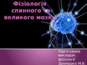 Фізіологія  спинного та великого мозку Підготувала викладач