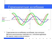 Гармонические колебания  Гармонические колебания, при которых физическая