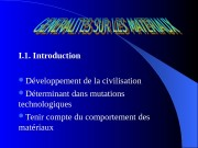 I. 1. Introduction  Développement de la civilisation