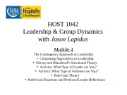 HOST 1042 Leadership & Group Dynamics with Jason