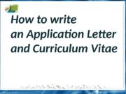 How to write an Application Letter and Curriculum