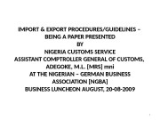IMPORT & EXPORT PROCEDURES/GUIDELINES – BEING A PAPER
