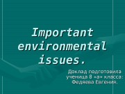 Important environmental issues. Доклад подготовила ученица 8 «а»