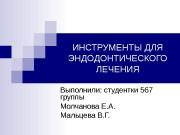 ИНСТРУМЕНТЫ ДЛЯ ЭНДОДОНТИЧЕСКОГО ЛЕЧЕНИЯ Выполнили: студентки 567 группы