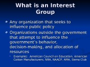 What is an Interest Group Any organization that