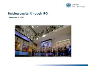 Raising capital through IPO   September 15,