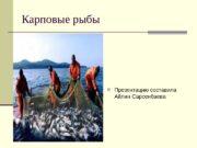 Карповые рыбы  Презентацию составила Айлин Сарсенбаева