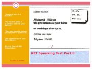 KET Speaking Test Part II This part lasts